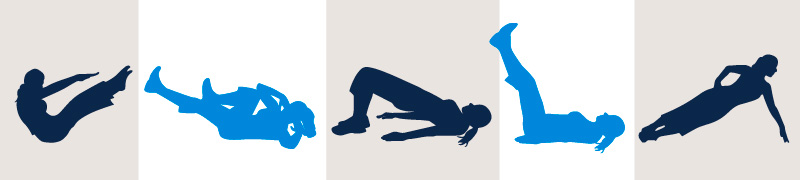 Various positions pilates sillouhettes